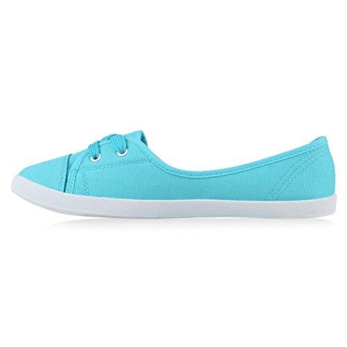 Klassische Damen Ballerinas Sportliche Stoffschuhe Slipper Flats Sneakers Slip-ons viele Farben Flandell Hellblau