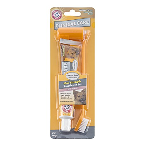 Arm & Hammer Clinical Pet Care Dental Gum Health Kit for Dogs | Contains Toothpaste, Toothbrush & Fingerbrush | Soothes Inflamed Gums, 3-Piece Kit, Chicken Flavor
