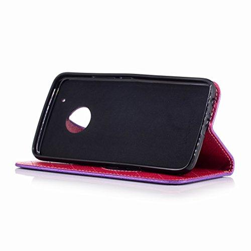 Yiizy Motorola Moto G5 Plus Custodia Cover, Amare Design Sottile Flip Portafoglio PU Pelle Cuoio Copertura Shell Case Slot Schede Cavalletto Stile Libro Bumper Protettivo Borsa (Viola)
