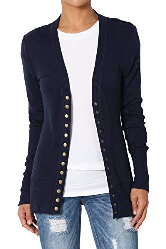 TheMogan Women's Snap Button V-Neck Long Sleeve Knit Cardigan Navy XL