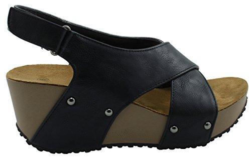 Cambridge Select Womens Open Toe Studded Crisscross Strappy Slingback Platform Wedge Sandal Black 43xcp