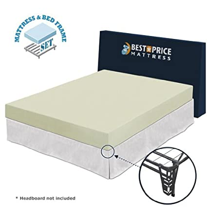 Amazoncom 6 Memory Foam Mattress Bed Frame Set No Box Spring
