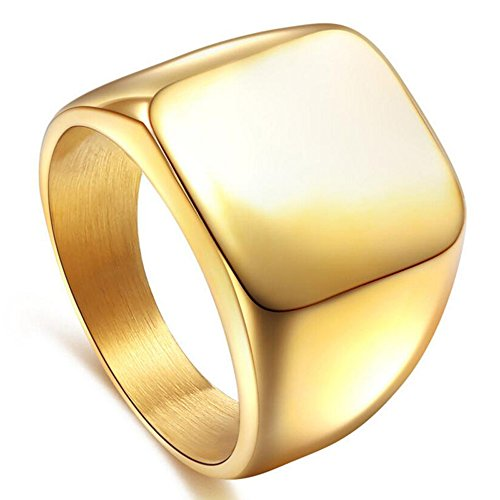 - enhong Signet Biker Rings Solid Polished Stainless Steel Ring for Men, Gold Color in Size 10