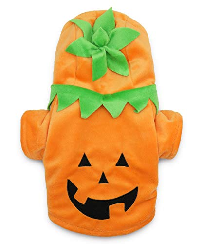 Xxs Puppy Halloween Costumes (DroolingDog Pet Dog Halloween Costume Pumpkin Head Clothes for Small Dogs,)