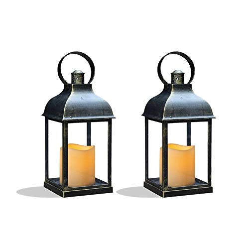 Cheap Decorative Lanterns (Decorative Lanterns with Timer Flameless Candle Using Battery for 10''H Outdoor and Indoor Hanging,Lantern Decor for Wedding with Plastic and Bronze Hue.2)