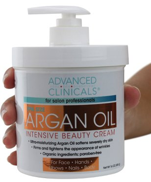 Advanced Clinicals Spa Size Pure Argan Oil Intensive Beauty Cream. Anti-aging Cream for Wrinkles and Dry Skin. 16oz Jar with a Pump. ()