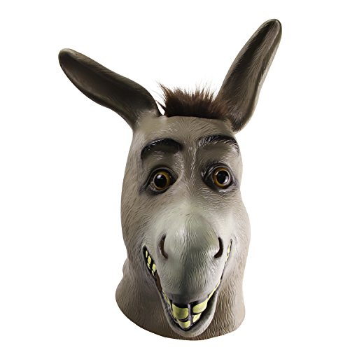 molezu Donkey Mask,Halloween Shrek Donkey Face Mask, Novelty Deluxe Costume Party Cosplay Latex Animal Head Mask Adult Gray -