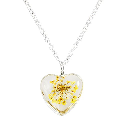 Hobe Gold Necklace (Miweel Heart Surface Dried Pressed Real Flower Transparent Resin Crystal Pendant Necklace)
