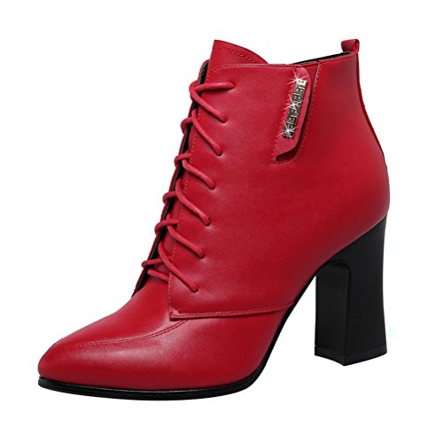T&Mates Womens Stylish Pointy Close Toe Lace Up Chunky High Heel Ankle Booties Martin Boots (7.5 B(M)US,Red)