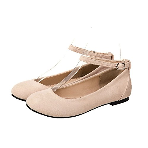 Odomolor Women's Low-Heels Pu Soild Buckle Round-Toe Court Shoes Beige oFKJu5hV9M