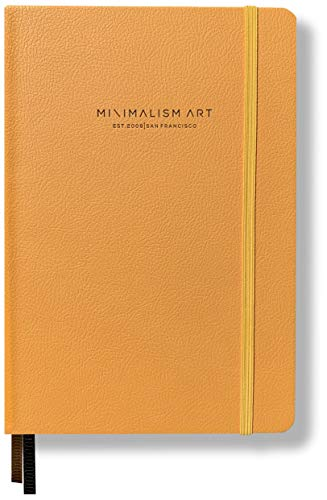 Minimalism Art, Premium Edition Notebook Journal, Pocket B6 4.5 x 6.5 inches, Dotted Grid Page, Hard Cover, 124 Numbered Pages, Gusseted Pocket, Ribbon Bookmark, Ink-Proof Paper 120gsm (Golden Yellow)