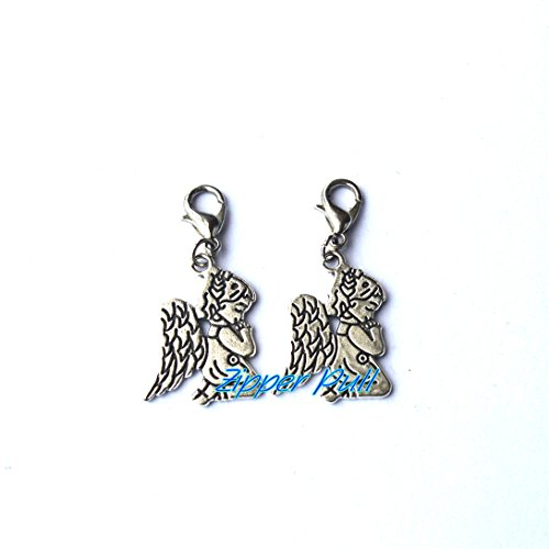 Own Charm ~Antique Silver Angel Charm,antique silver plated Pray angel Urn Necklace Jewelry - charms,Zipper Pull, Perfect for Necklaces, Bracelets , keychain and earrings