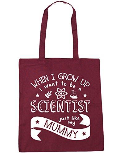 HippoWarehouse WHEN I Grow Up I Want To Be A científico Just Like My Mummy bolsa de la compra bolsa de playa 42cm x38cm, 10litros granate