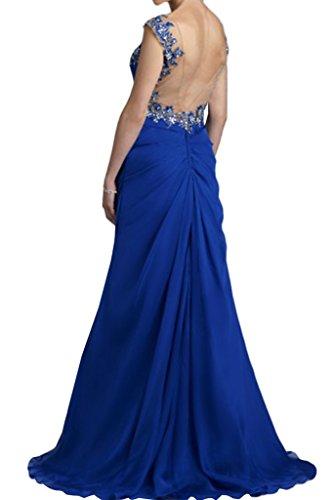 Charmant Damen Royal Blau Steine Schulterfrei Abendkleider Partykleider Brautmutter Tanzenkleider Lang
