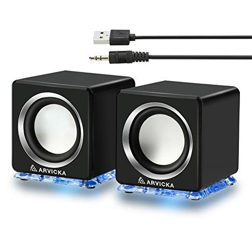 【ARVICKA】 pc スピーカー USBスピーカー 4w USB電源/ステレオミニプラグ音源 テレビ/PC/MP3/MP4/ タブレット/スマホに対応 ポータブル ブルーライトスタンド搭載 [並行輸入品]