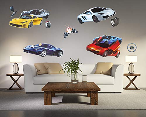 Kid's Room Decor 3D Wall Decals Sportscar Series Removable PVC DIY Supercar Sticker for Boys Girls ()