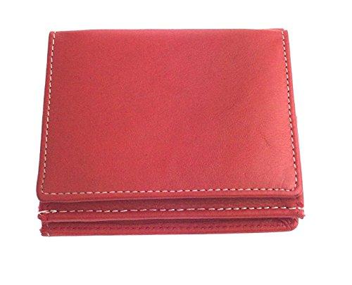 NB24 Geldbörse (DB 007), rot mit weißen Ziernähten, Wiener Schachtel, weiches Echt Leder, Damengeldbörse, Herrengeldbörse, Kleinlederwaren