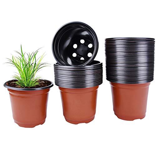 Plastic Plant Pot 100 Pack Flower Nursery Pots Starter Pot for Little Garden Plant Growing Pots to Repot Succulents and…