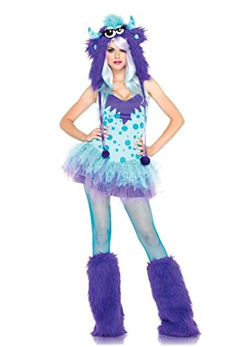 Leg Avenue Women's 2 Piece Polka Dotty Dress with Tutu Skirt And Furry Monster Hood, Aqua/Purple, Medium/Large