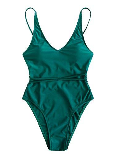 cf1eb433b2a059 SweatyRocks Women's One Piece Swimsuit Color Block Knot Belt Front Cut Out  Bathing Suit Monokini