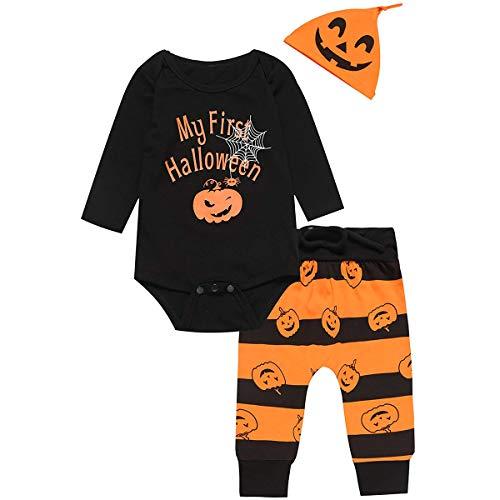 INHoney Baby Girl Boys My First Halloween Letter Printed Pumpkin Romper + Striped Pumpkin Pants + Hat Costume Set (6-12 Months, Black)