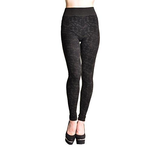 Angelina Lace-pattern Jacquard Leggings #020 Black