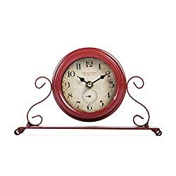 Dannto Vintage Metal Numerals Non-ticking Clock Battery Operated Craft Table Clock For Living Room Home Decor (One Size, Red)