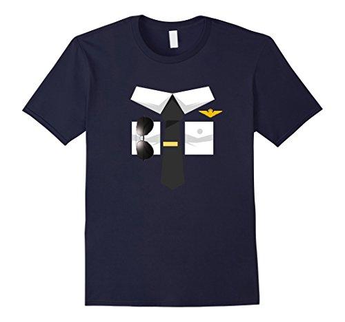 Navy Pilot Uniform Costume (Mens Airplane Pilot Uniform T-Shirt | Halloween Captain Shirt 3XL Navy)