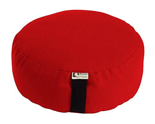 Bean Products Tomato - Oval Zafu Meditation Cushion - Yoga - Organic 10oz Cotton - Organic Buckwheat Fill - Made in USA