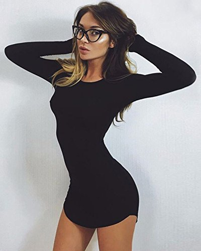 Col Femmes Mini Manches Chemisier Bodycon Noir Casual Slim Longues Minetom Robe Irreguliere L'Ourlet Parti Rond Sexy SR0Rq