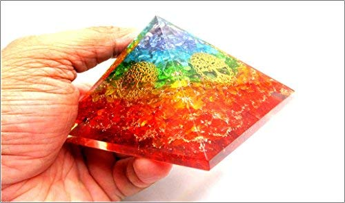 Jet Rainbow Tree of Life Orgone Pyramid Reiki Ions Generator 2.5 inch Charged EMF Harmonizer Jet International Crystal Therapy Booklet Image is JUST A Reference.