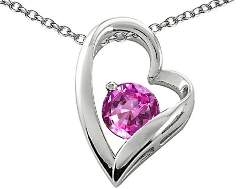 Star K Sterling Silver 7mm Round Heart Shape Pendant Necklace
