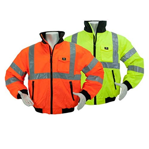 Brite Safety Style 5020 Hi Vis 3-Season Bomber Jacket Men or Women | Durable, Wind & Water Resistant | ANSI Class 3 compliant (2XL)