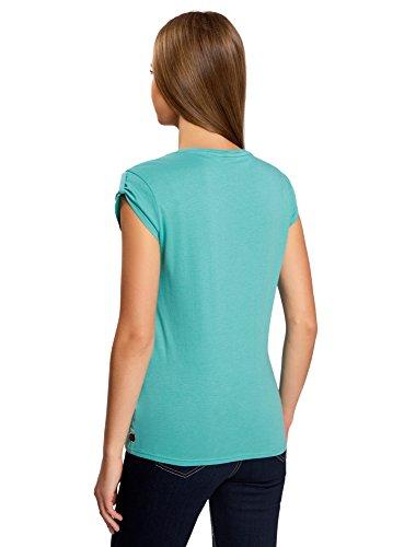 oodji Ultra Mujer Camiseta con Estampado Étnico Turquesa (7300N)