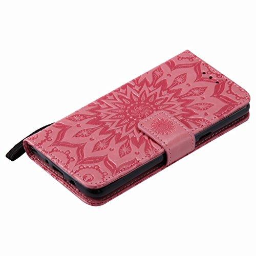 Yiizy Samsung Galaxy J5 (2017) Custodia Cover, Sole Petali Design Sottile Flip Portafoglio PU Pelle Cuoio Copertura Shell Case Slot Schede Cavalletto Stile Libro Bumper Protettivo Borsa (Rosa)