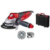 Einhell TE-AG 125/750 Kit - Pack con amoladora angular, disco de corte de diamante, maletín y cubierta, 11000 rpm, 750 W, 230 V, color negro y rojo