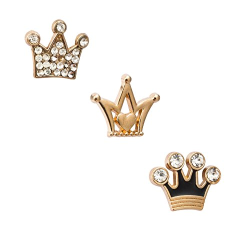Knighthood Men's Set Of 3 Formal King Crown Lapel Pins/Shirt Stud Golden by Knighthood