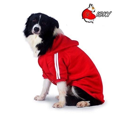 Border Collie Costumes (Visky Medium and Big Dog Hoodies Costumes Dog Sweatshirts, Winter Warm Dog Sweater Coat Jacket--Red,Medium)