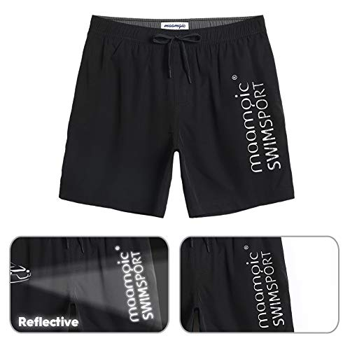 Trunks In Uomo Swim Rete Fodera Quick Nero Con 2 Boardshorts Maamgic Dry Flamingo Iq0Id