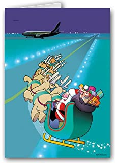 airport runway landing christmas card 18 cards envelopes - Aviation Christmas Cards