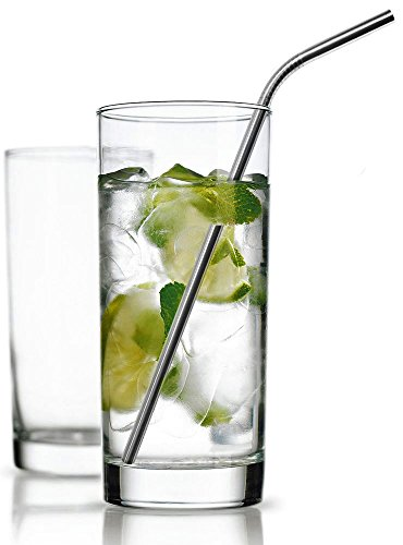 UPC 791810698647, Clear Set of 4 Highball Drinking Glasses 16-oz, with Four Stainless Steel Straws - Elegant Glassware Set