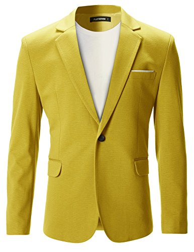 FLATSEVEN Mens Slim Fit Casual Premium Blazer Jacket (BJ102) Yellow, XS