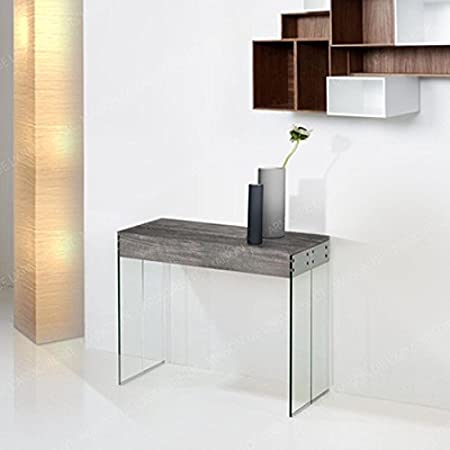 Giovanni Marchesi Design Console Extensible New York Oak Grey Wood Glass One Size Amazon Co Uk Kitchen Home