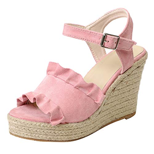 Price comparison product image Tsmile Women Sandals Lace Wedge Buckle Strap High Heel Waterproof Platform Peep Toe Casual Sandals Pink
