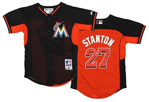 Miami Marlins Giancarlo Stanton #27 MLB Big Boys Cool Base Practice Jersey – Sports Center Store