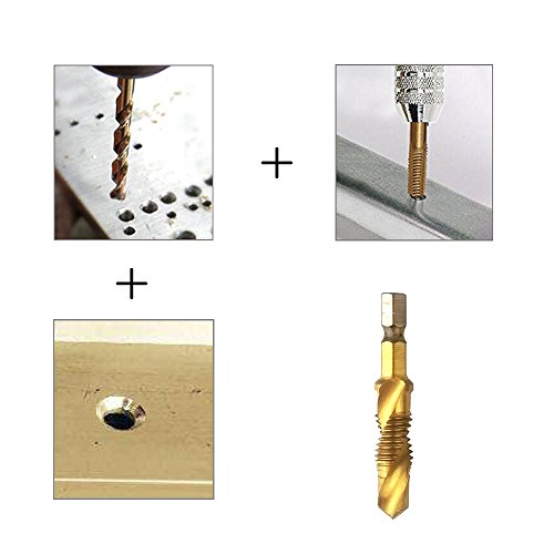 1//4 In HSS Hex Shank Metric Combination Drill and Tap Set and Automatic Spring Loaded Center Punch Tool 6 Pcs Combination Drill Screw Tap Bit Set M3-M10