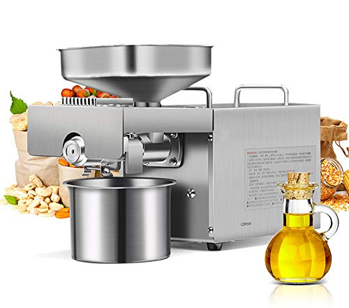 CGOLDENWALL 1500W Commercial Automatic Oil Press Machine Industrial heavy type Physical pressing machine Nuts Seeds Oil Presser Pressing Machine All Stainless Steel CE (110V)