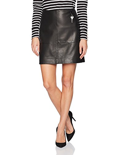 Kenneth Cole Women's Leather Seamed Mini-Skirt, Black, S by Kenneth Cole