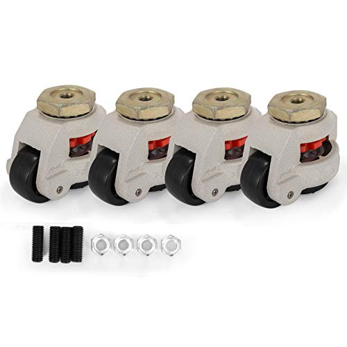 Happybuy 4 Pack Leveling Casters GD-60S Stem Mounted Footmaster Leveling Caster 551lbs per Leveling Caster Wheels Nylon Wheel and NBR Pad (GD-60S)