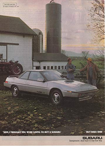 "Magazine Print Ad: 1986 Subaru XT Coupe, Farm Barn Tractor scene,""Son, I thought You Were Going to Buy a Subaru. But Dad, I Did"""